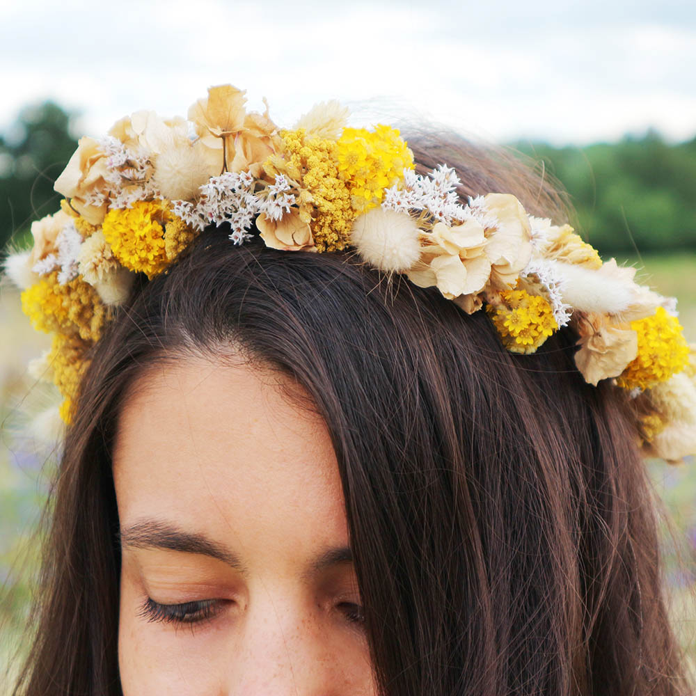 Yellow Dried Flower Crown
