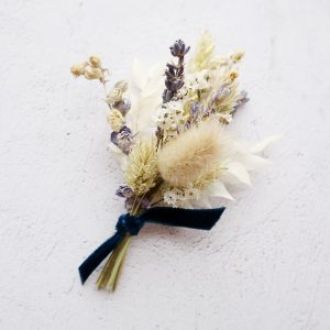 Blue Dried Flower Buttonhole