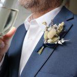 Blue Dried Flower Buttonhole on Jacket