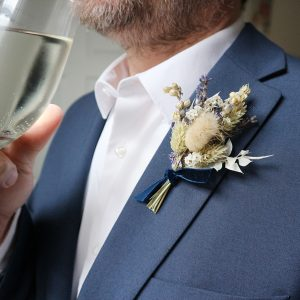 Blue Dried Flower Buttonhole on Jacket
