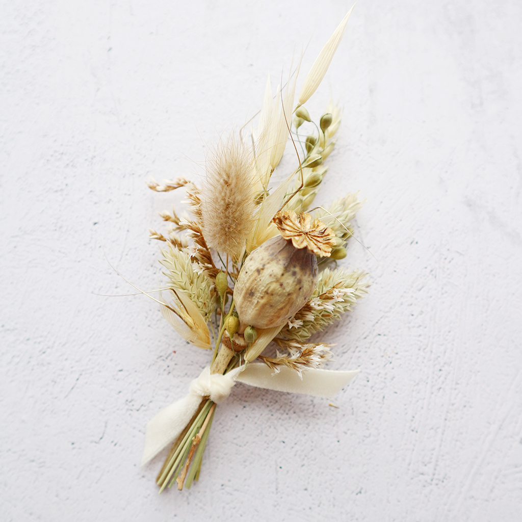 Neutral Dried Flower Buttonhole