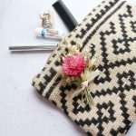 Pink Dried Flower Buttonhole on Bag