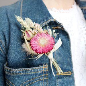 Pink Dried Flower Buttonhole on Denim Jacket
