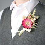 Pink Dried Flower Buttonhole on Waistcoat