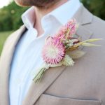 Pink Dried Flower Buttonhole