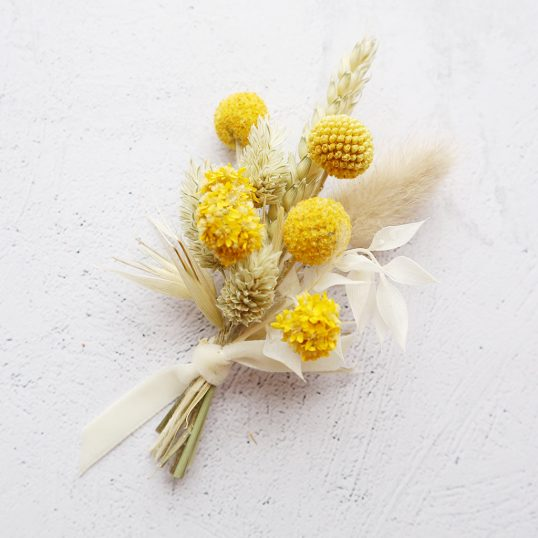 Yellow Dried Flower Buttonhole