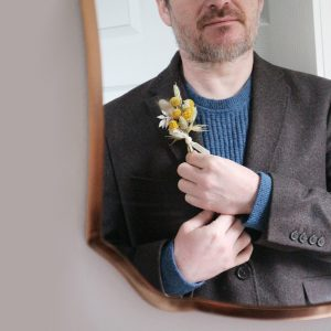 Yellow Dried Flower Buttonhole on Jacket