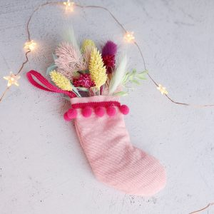 Stocking Christmas Decorations with Dried Flowers Joy